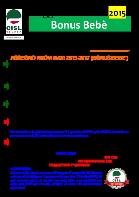 Cisl veneto bonus beb 2015 2017 volantino maggio 2015 for Bonus sociale 2017