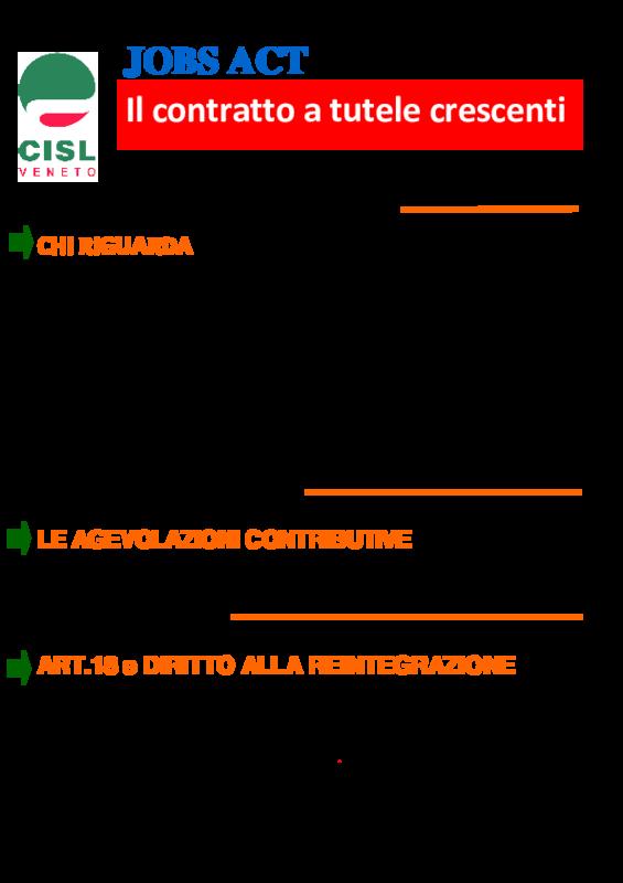 Cisl Veneto Jobs Act Contratto A Tutele Crescenti